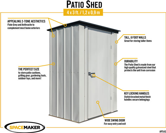 Arrow 4x3 Spacemaker Patio Shed Kit Features & Benefits