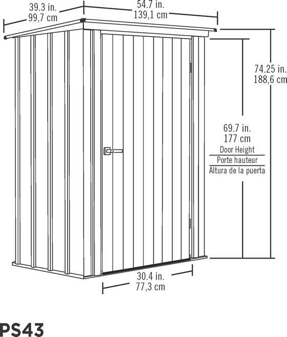 Arrow 4x3 Spacemaker Patio Shed Kit Measurements Diagram