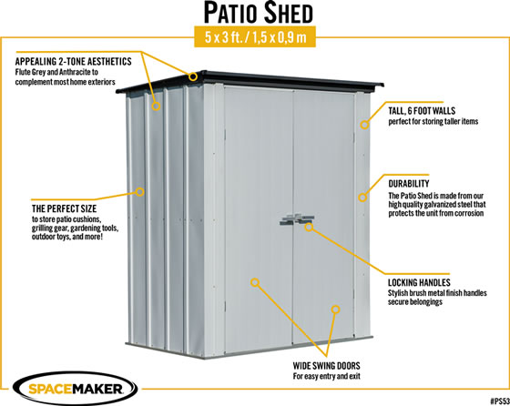 Arrow 5x3 Spacemaker Patio Shed Kit Features & Benefits