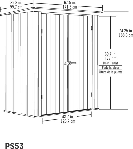 Arrow 5x3 Spacemaker Patio Shed Kit Measurements Diagram