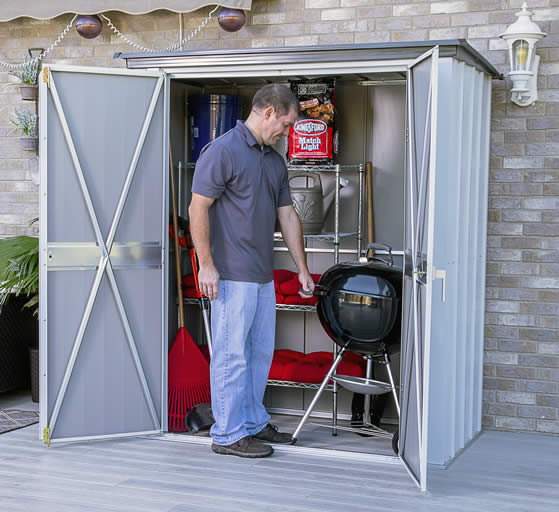 Arrow 5x3 Spacemaker Patio Shed Kit Assembled On Home Deck