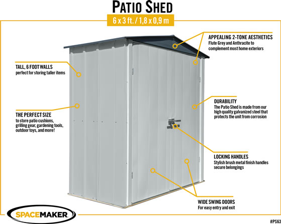 Arrow 6x3 Spacemaker Patio Shed Kit Features & Benefits
