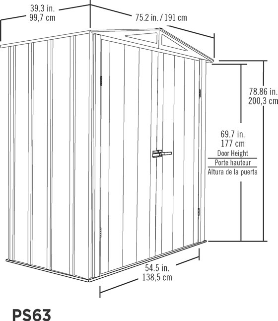 Arrow 6x3 Spacemaker Patio Shed Kit Measurements Diagram