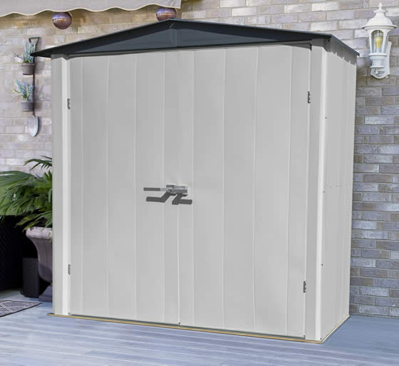 Arrow 6x3 Spacemaker Patio Shed Kit Assembled On Home Deck