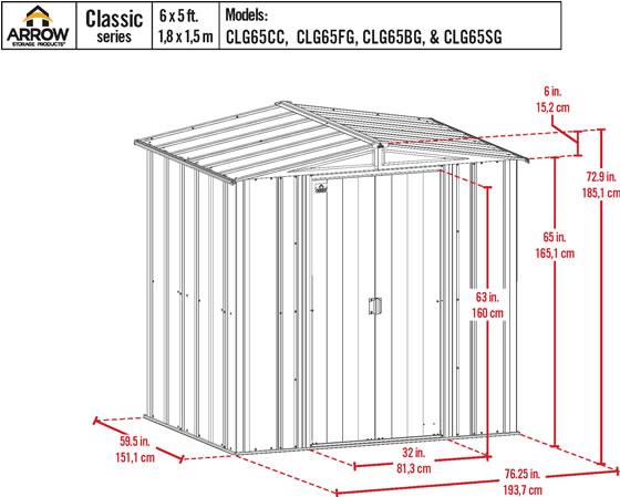 Arrow 6x5 Charcoal Classic Steel Shed Kit Measurements Diagram