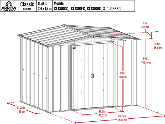 Arrow 8x6 Blue Gray Classic Steel Shed Kit Measurements Diagram