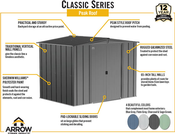 Arrow 8x6 Gray Classic Steel Shed Features & Benefits