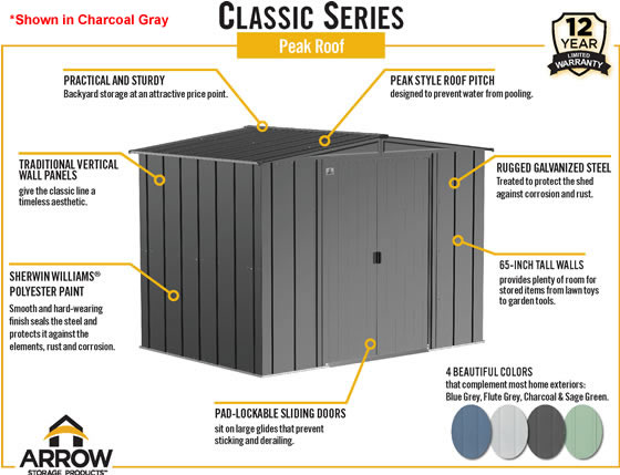 Arrow 8x6 Classic Steel Shed Features & Benefits