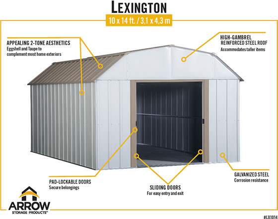 Arrow Lexington Shed Features Eggshell & Taupe Colors, Pad Lockable Sliding Doors & Galvanized Steel