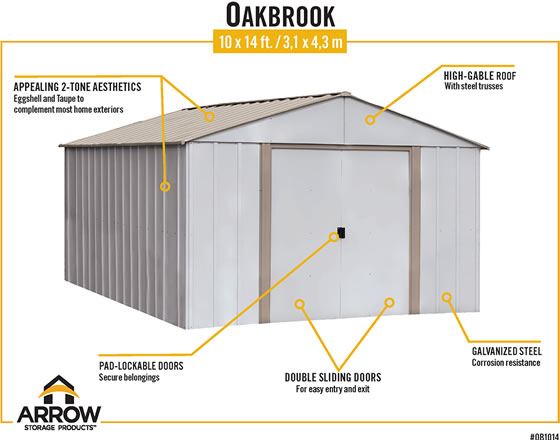 Arrow Oakbrook Shed Features Eggshell & Taupe Colors, Pad Lockable Sliding Doors & Galvanized Steel