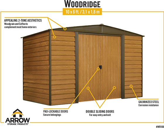 Arrow Woodridge Shed Features Two Tone Style, Lockable Sliding Doors & Galvanized Steel