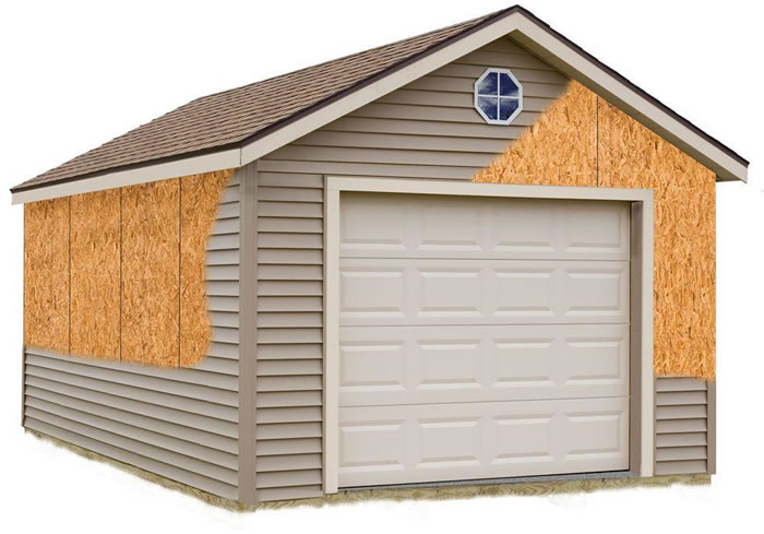 Greenbriar 12x16 Wood Garage Shed Kit - ALL Pre-Cut