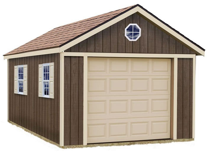 Sierra 12x20 wood storage garage shed kit for Large garage kits