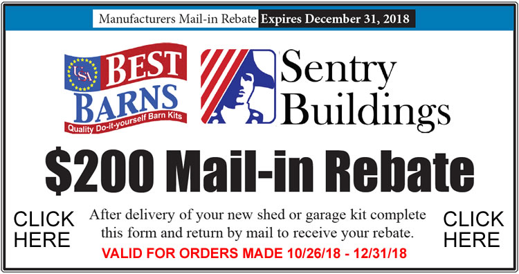 Save $200 On ANY Best Barns Shed w/ Mail In Rebate! - Sale Ends 12/31