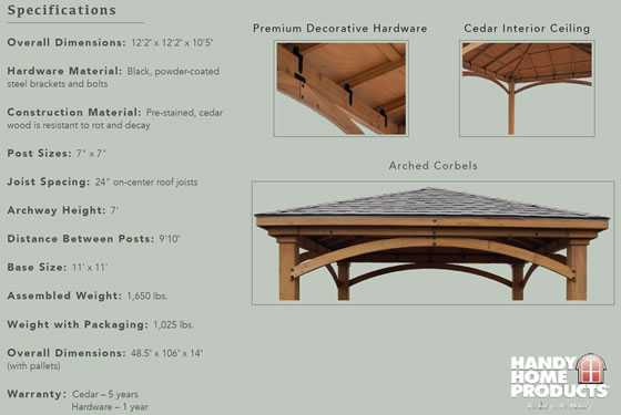 Handy Home Brezina Cedar Gazebo Specifications