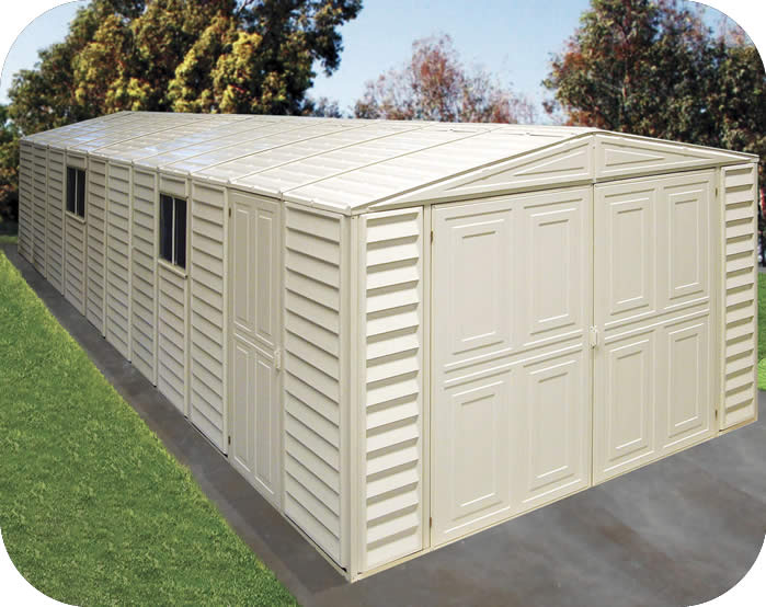 DuraMax Sheds Vinyl Garage 10x21 w/ Foundation Kit