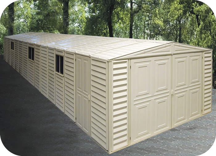 duramax sheds 10x29 vinyl storage garage with foundation kit 01516. Black Bedroom Furniture Sets. Home Design Ideas