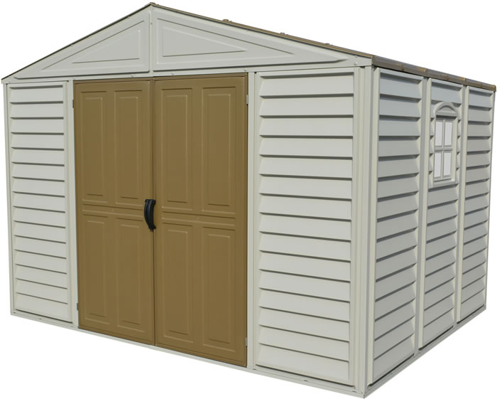 DuraMax 10.5x8 Woodbridge Adobe Vinyl Shed w/ Foundation