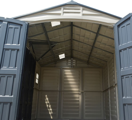 DuraMax 10x8 Vinyl Shed Inside Photo - Shed Trusses & Skylights