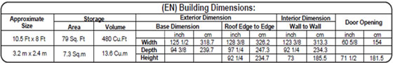 DuraMax 10x8 Vinyl Shed 40116 Specifications Diagram