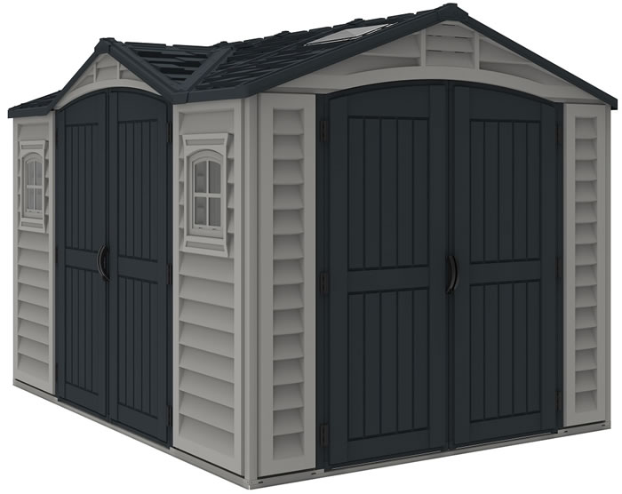 DuraMax 10.5x8 Apex Pro Vinyl Shed w/ Foundation Kit