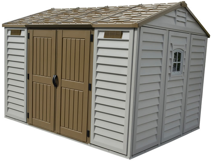 DuraMax 10.5x8 Apex Vinyl Shed w/ Foundation Kit