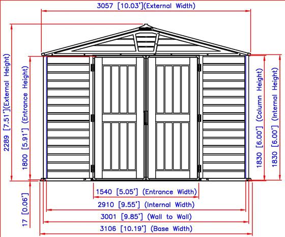 DuraMax 10.5x8 StoreMax Plus Vinyl Shed Measurements Diagram