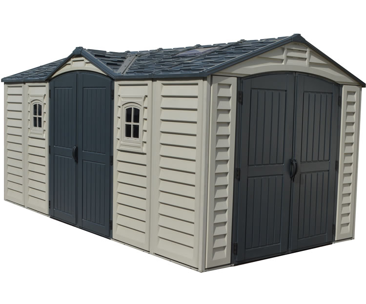 DuraMax 15x8 Apex Pro Vinyl Shed w/ Foundation Kit