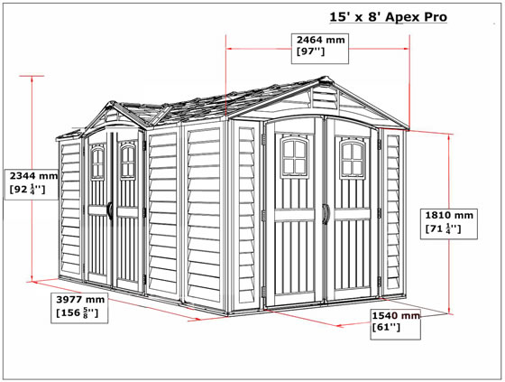 DuraMax 15x8 Vinyl Shed 40216 Measurements Diagram