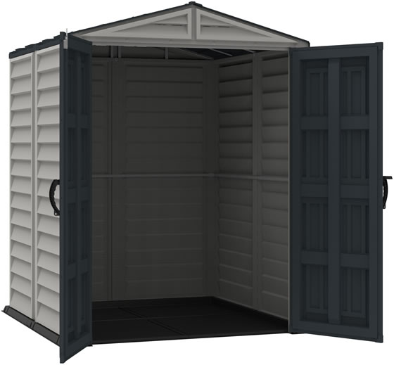DuraMax 5x5 YardMate Plus Vinyl Shed - doors open, vinyl floor included!