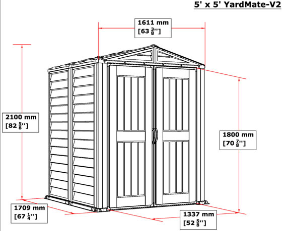 DuraMax 5x5 YardMate Plus Vinyl Shed - measurements diagram