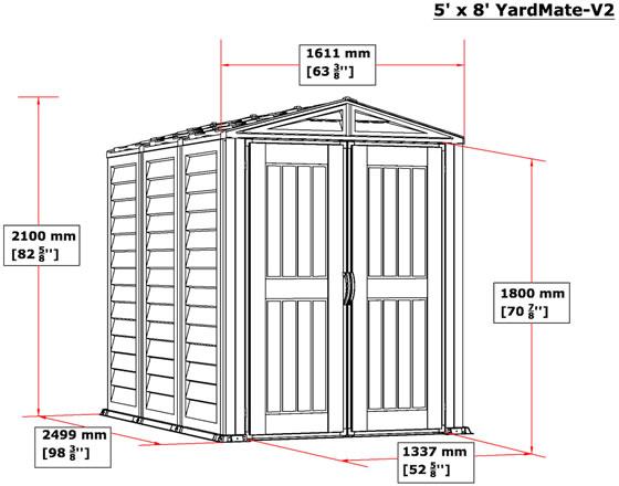 DuraMax 5x8 YardMate Plus Vinyl Shed w/ Floor - Measurements Diagram