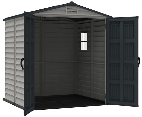 Take a look inside the StoreMate 6x6 premium vinyl shed with floor!