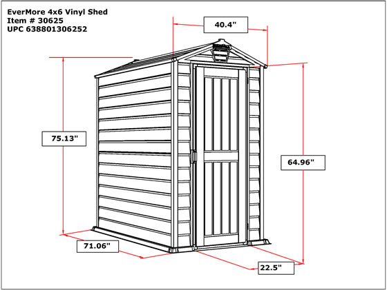 DuraMax 4x6 Evermore Shed Specifications and Dimensions