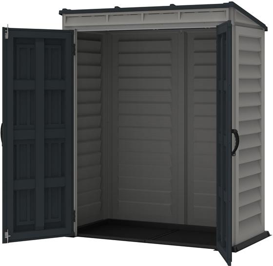 DuraMax YardMate Pent 5x3 Vinyl Shed - Assembled with Doors Open - Vinyl Flooring Included!
