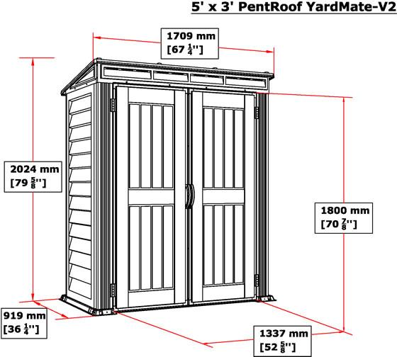 DuraMax YardMate Pent 5x3 Vinyl Shed V2 Measurements Diagram