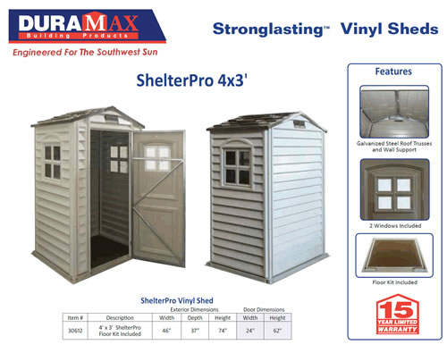 DuraMax 4x3 Shelter Pro Shed Details