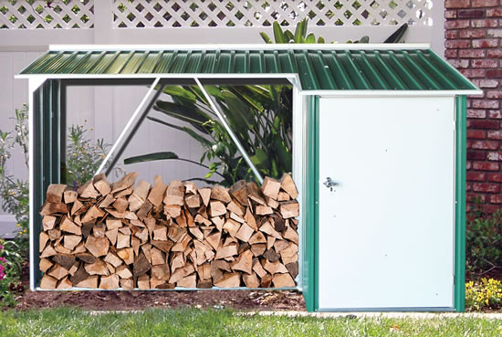 DuraMax Woodstore Firewood Green Storage Shed - 15 Year Warranty!