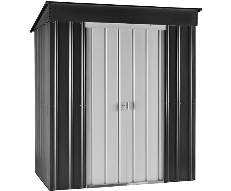 Globel 6x4 Skillion Metal Shed Kit - Gray and Silver