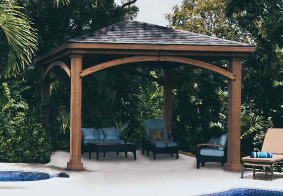 Set up a luxury seating area or hot tub retreat in your backyard!