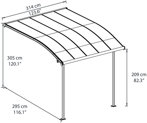 Palram Joya 10x10 Patio Cover Measurements Diagram