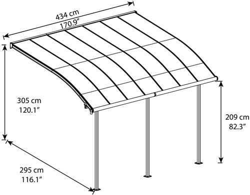 Palram Joya 10x14 Patio Cover Measurements Diagram