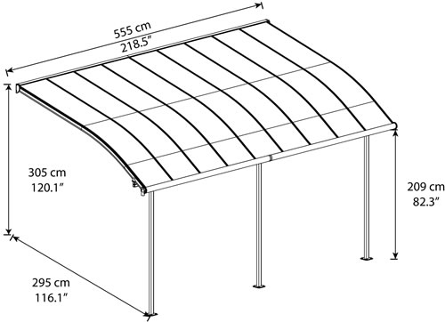 Palram Joya 10x18 Patio Cover Measurements Diagram