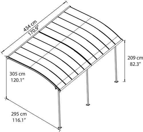Palram Joya 10x20 Patio Cover Measurements Diagram