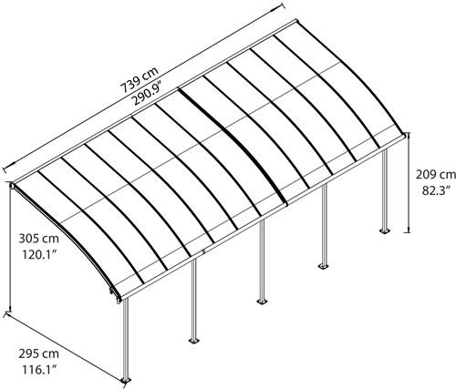 Palram Joya 10x24 Patio Cover Measurements Diagram