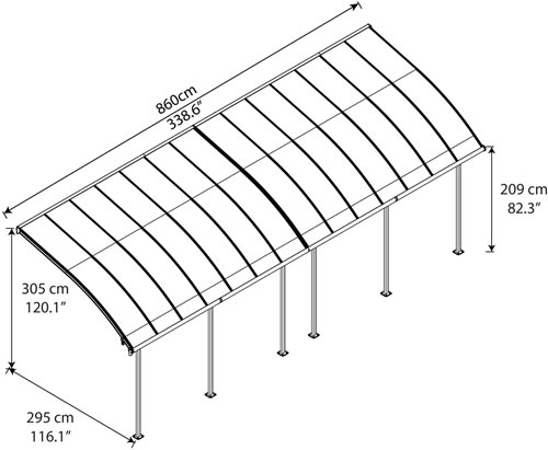 Palram Joya 10x28 Patio Cover Measurements Diagram