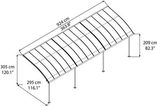 Palram Joya 10x30 Patio Cover Measurements Diagram