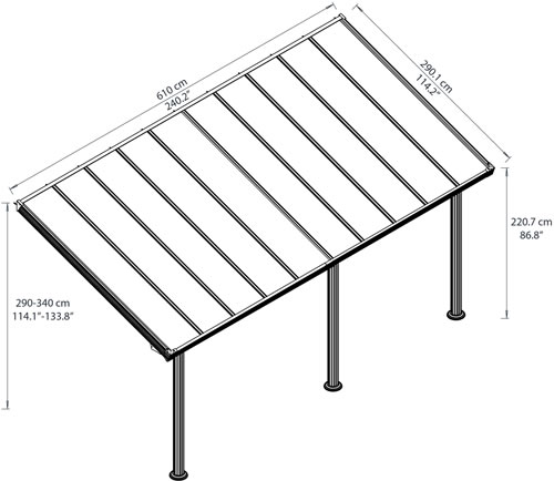 Palram 10x20 Gala Patio Cover Measurements