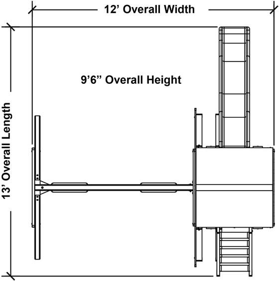 KidWise Safari Swing Set Measurements Diagram
