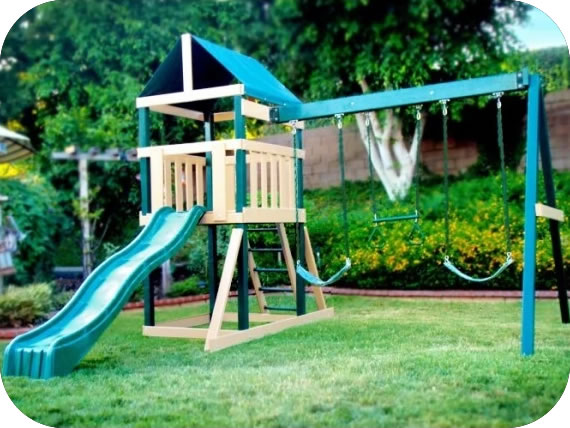 KidWise Safari Poly Coated Wood Swing Set - Green & Brown